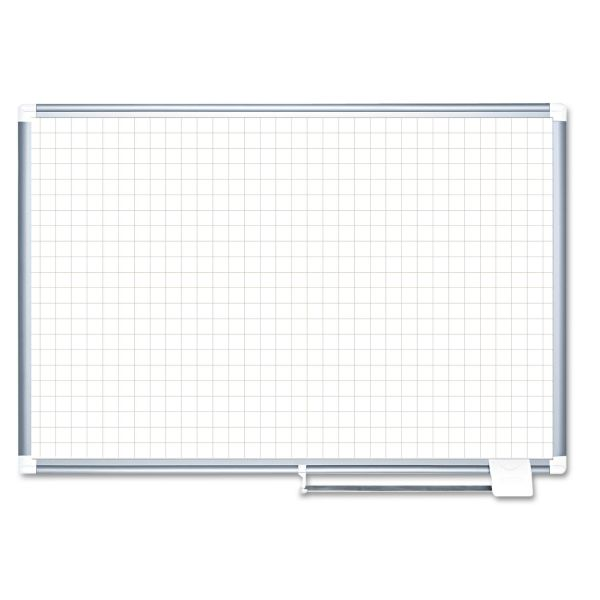 MasterVision Grid Planning Board, White, 72 x 48, Silver Frame