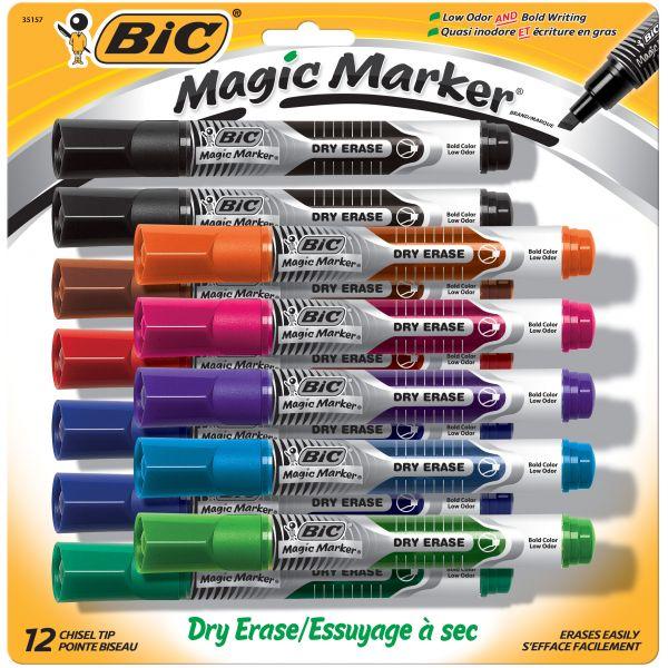 BIC Magic Marker Low Odor & Bold Writing Dry Erase Marker, Chisel, Assorted, Dozen