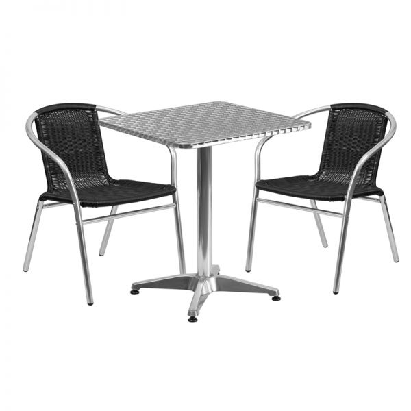 Flash Furniture 23.5'' Square Aluminum Indoor-Outdoor Table with 2 Black Rattan Chairs