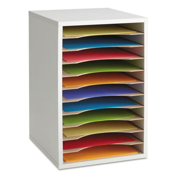 Safco Wood Vertical Desktop Literature Sorter, 11 Sections 10 5/8 x 11 7/8 x 16, Gray