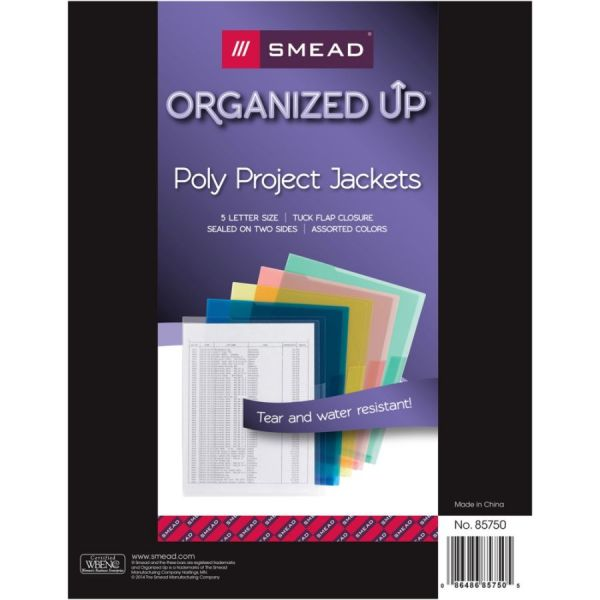 Smead Slash Pocket Jackets Poly 5//Pack Letter Blue//Clear//Green//Red//Yellow