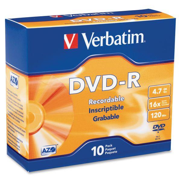 Verbatim Recordable DVD Media With Slim Cases