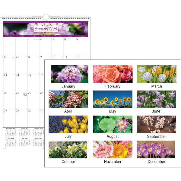AT-A-GLANCE Floral Wall Calendar, 15 1/2 x 22 3/4, Floral, 2019