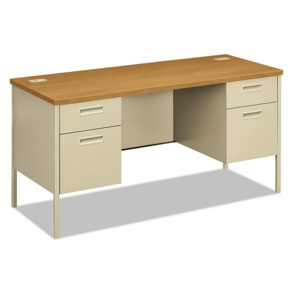 "HON Metro Classic Double Pedestal Credenza with Kneespace | 2 Box / 2 File Drawers | Chrome Legs | 60""W"