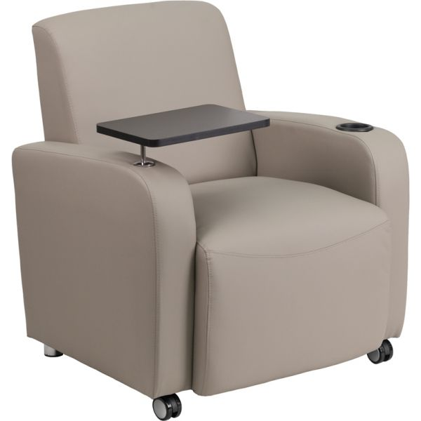 Flash Furniture Gray Leather Guest Chair with Tablet Arm