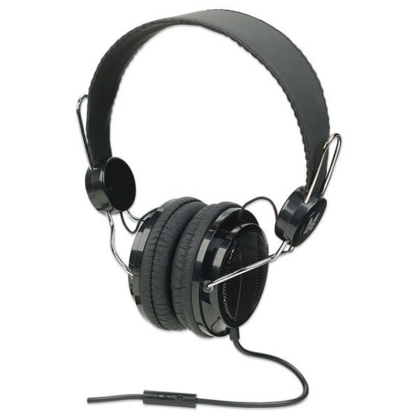 Manhattan Elite Stereo Headset with In-Line Microphone, Black/Silver