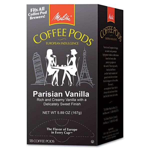 Melitta Coffee Pods, Parisian Vanilla, 18 Pods/Box