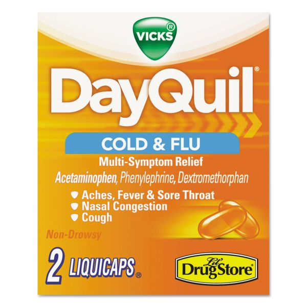DayQuil Severe Cold & Flu Caplets, Daytime, Refill Pack, 2 Caplets/Packet, 20 Packs/Box