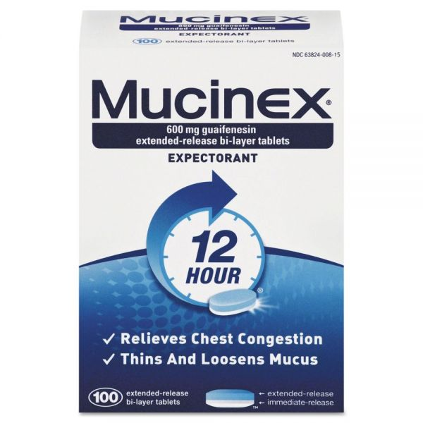 Mucinex Expectorant Regular Strength, 100 Tablets/Box, 12 Box/Carton