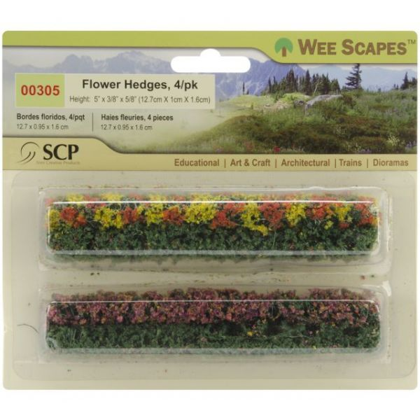 "Flower Hedges 5""X.375""X.625"" 4/Pkg"