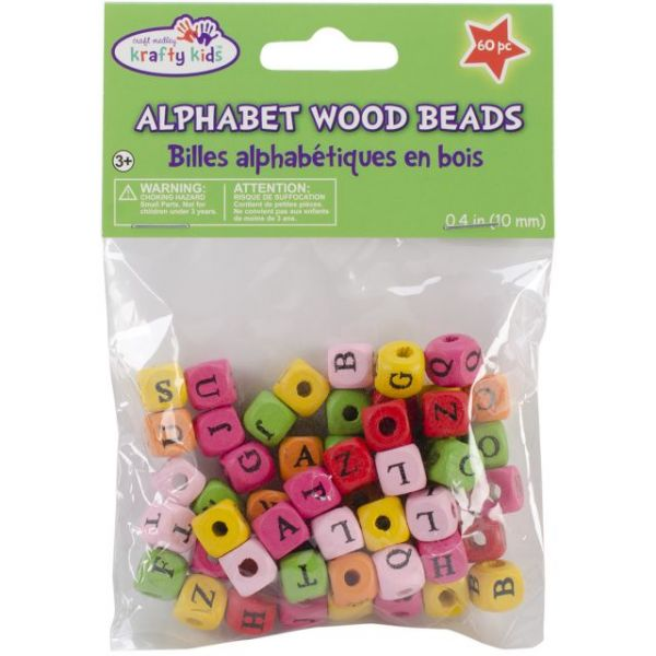 Wood Alphabet Beads 10mm 60/Pkg
