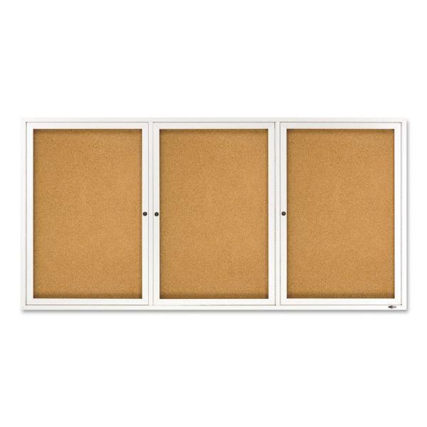 Quartet Enclosed Bulletin Board, Natural Cork/Fiberboard, 72 x 36, Silver Aluminum Frame