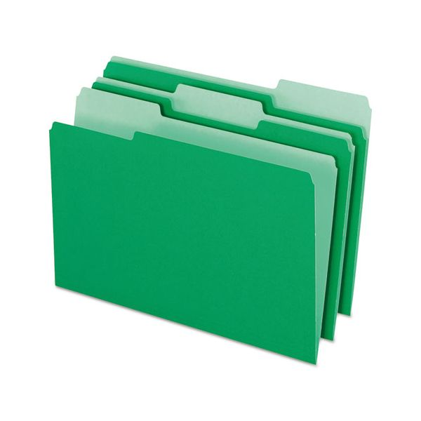 Pendaflex Colored File Folders, 1/3 Cut Top Tab, Legal, Green/Light Green, 100/Box