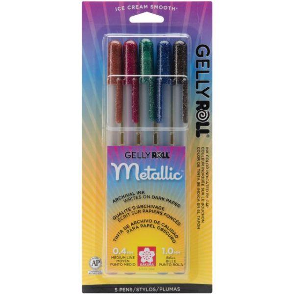 Gelly Roll Metallic Medium Point Pens 5/Pkg