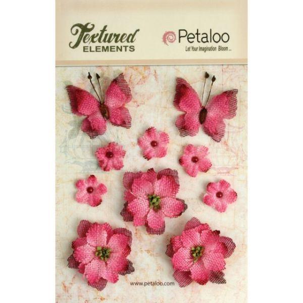 Textured Elements Burlap Flowers/Butterflies 10/Pkg
