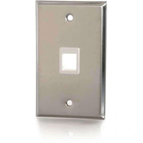 C2G 1-Port Single Gang Multimedia Keystone Wall Plate - Stainless Steel