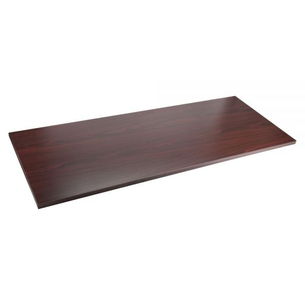 Lorell Quadro Sit/Stand Straight Edge Mahogany Tabletop
