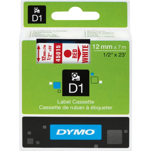 """DYMO D1 High-Performance Polyester Removable Label Tape, 1/2"""" x 23 ft, Red on White"""