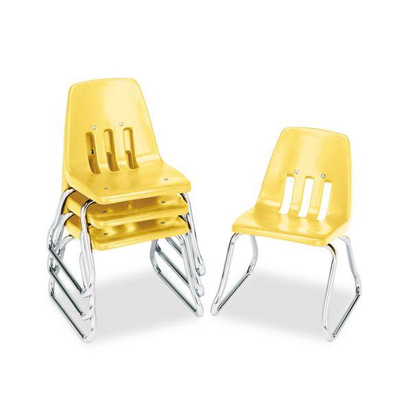 "Virco 9600 Classic Series Classroom Chairs, 12"" Seat Height, Squash/Chrome, 4/Carton"