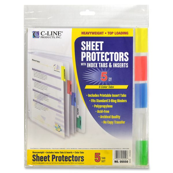 C-Line Top Loading Sheet Protectors with Index Tabs, Letter, Heavyweight, Assorted Color Tabs, 5/Set