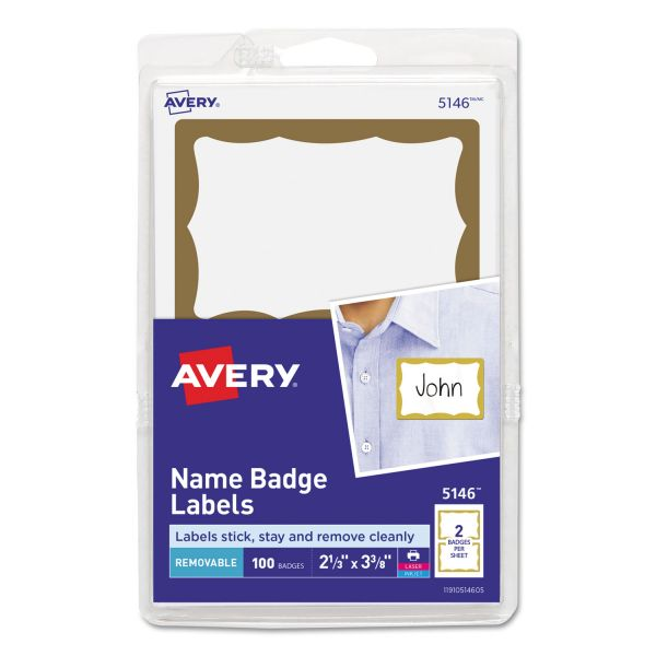 Avery Printable Self-Adhesive Name Badges, 2 1/3 x 3 3/8, Gold Border, 100/Pack