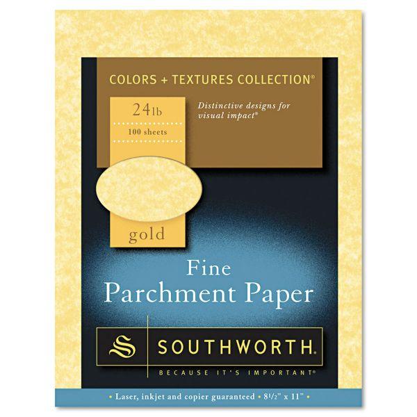 Southworth Parchment Specialty Paper, Gold, 24lb, 8 1/2 x 11, 100 Sheets