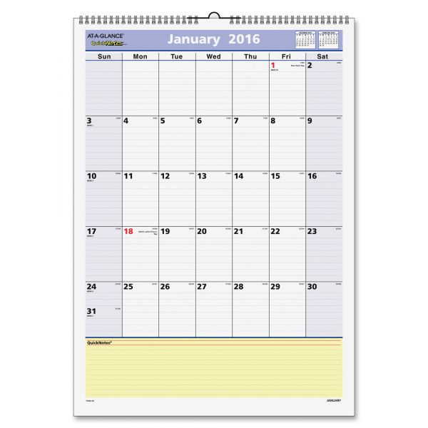 At-A-Glance QuickNotes Monthly Wall Calendar