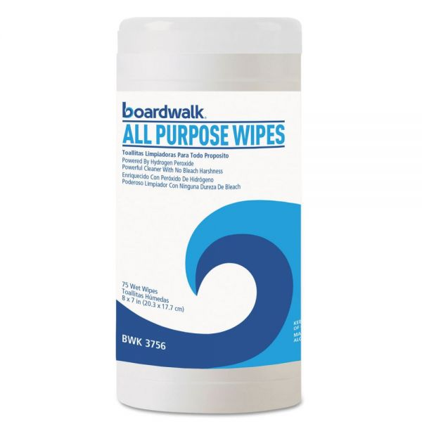 Boardwalk Natural Multi-Purpose Hydrogen Peroxide Wipes, 7 x 8, Unscented, 75/Canister