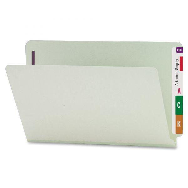 Smead 37705 Gray/Green End Tab Pressboard Fastener File Folders with SafeSHIELD Fasteners