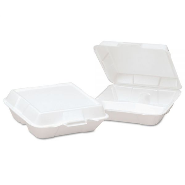 Genpak Foam High Volume Hinged Container, 3-Comp, 9x9-1/4x3, White, 100/BG, 2 BG/CT