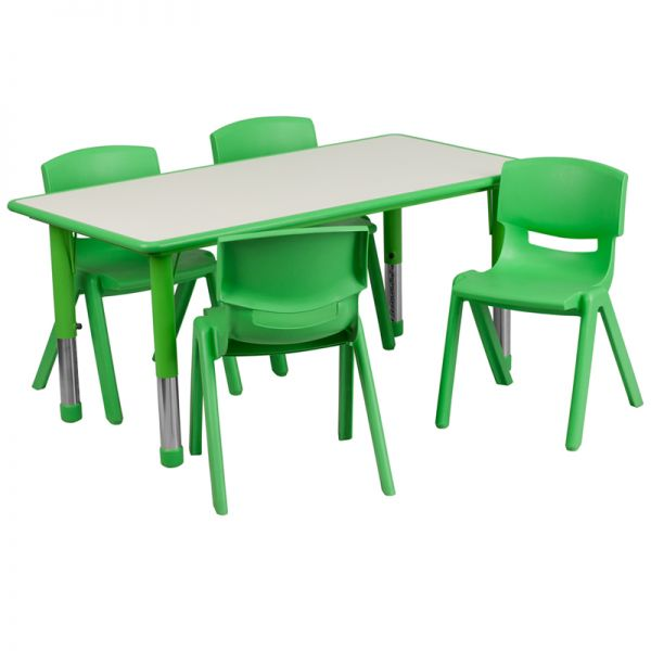 Flash Furniture 23.625''W x 47.25''L Adjustable Rectangular Green Plastic Activity Table Set with 4 School Stack Chairs