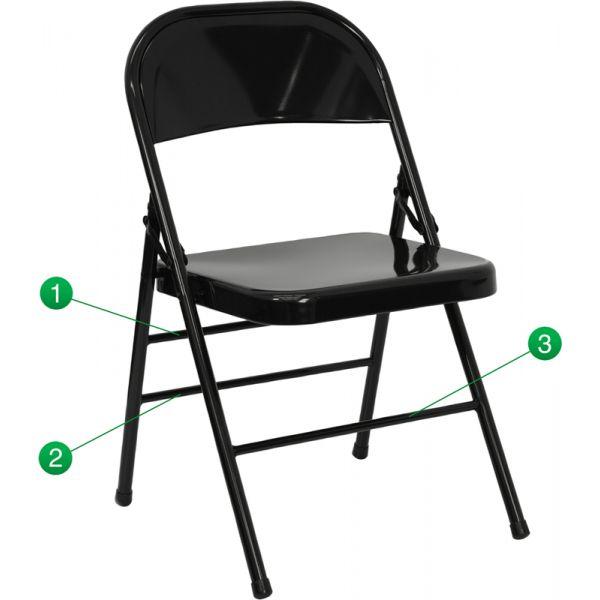 Flash Furniture HERCULES Series Triple Braced & Quad Hinged Black Metal Folding Chair [HF3-MC-309AS-BK-GG]
