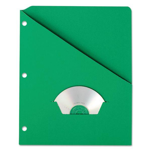 Pendaflex Essentials Slash Pocket Project Folders, 3 Holes, Letter, Green, 25/Pack