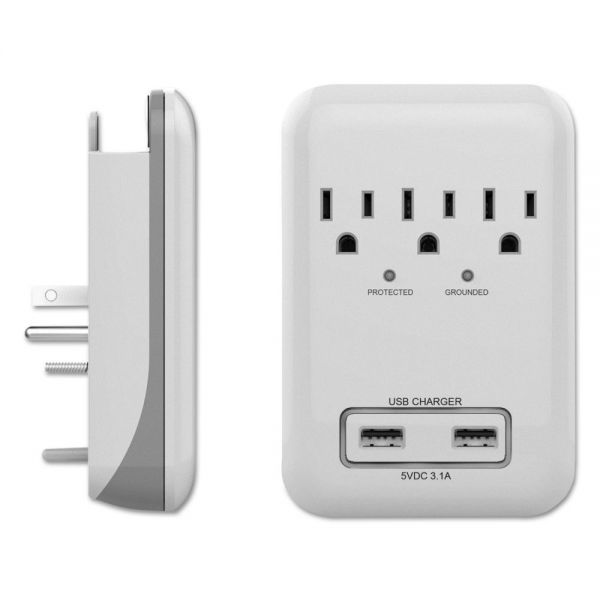 PRIME Small Electronics Surge Protectors, 3 Outlets, 900 Joules, White