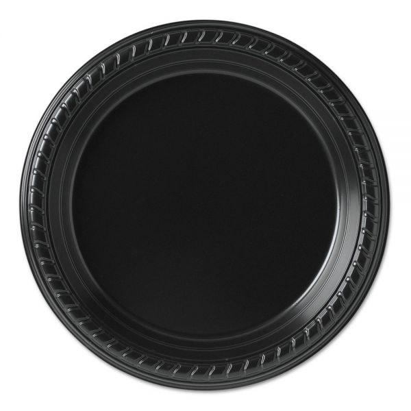Dart Party Plastic Plates, 7 1/4in, Black, 25/Pack, 20 Packs/Carton