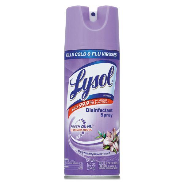 LYSOL Brand Disinfectant Spray, Early Morning Breeze, 12.5oz Aerosol, 12/Carton
