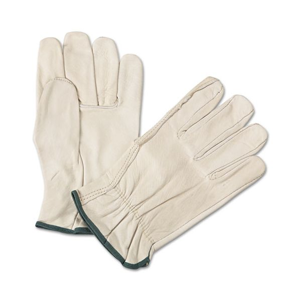 Anchor Brand 4000 Series Leather Driver Gloves, White, Medium, 12 Pairs