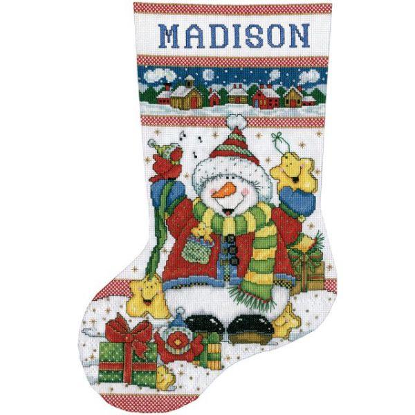 Snowman Fun Stocking Counted Cross Stitch Kit