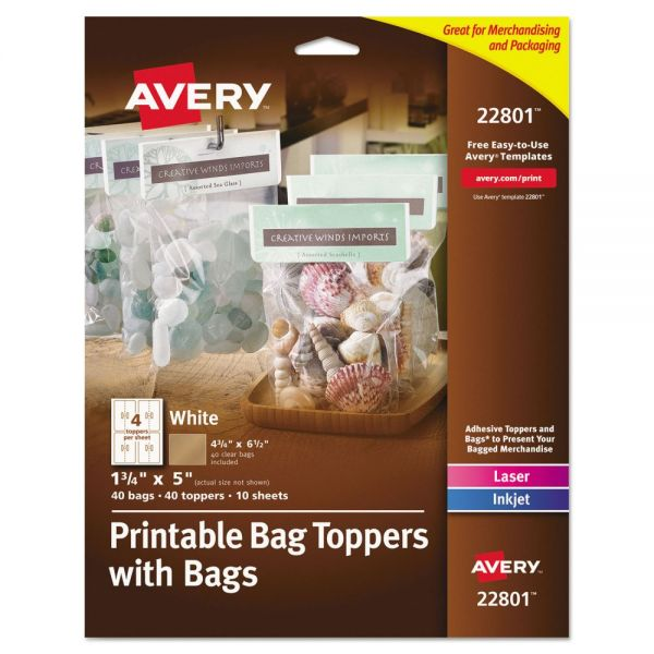 Avery Printable Bag Toppers with Bags, 1 3/4 x 5, White, 40/Pack