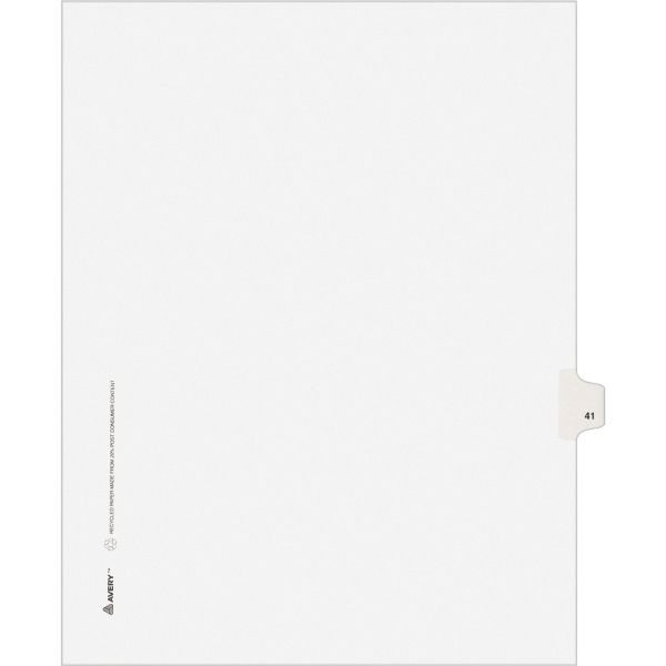 Avery Allstate-Style Legal Exhibit Side Tab Divider, Title: 41, Letter, White, 25/Pack