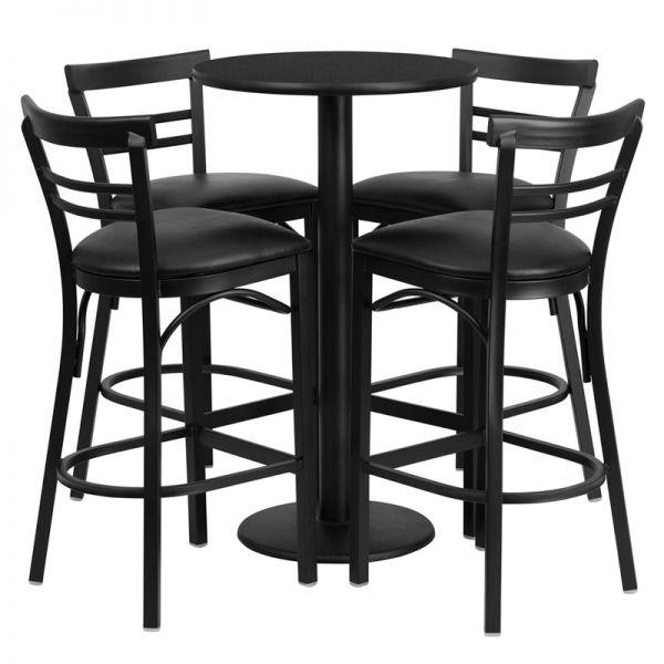 Flash Furniture 24'' Round Black Laminate Table Set with 4 Ladder Back Metal Barstools - Black Vinyl Seat