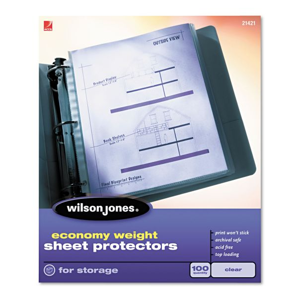 Wilson Jones Top-Loading Sheet Protectors, Letter, Economy Weight, Clear, 100/Box