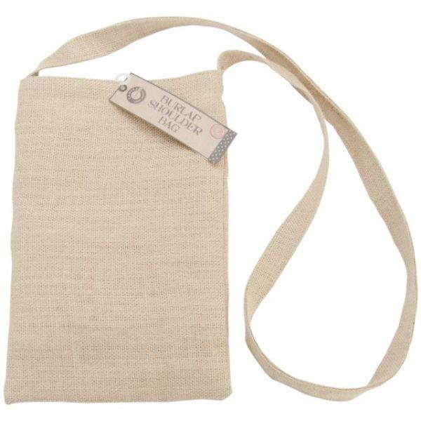 "Burlap Medium Shoulder Bag 8.5""X13"""