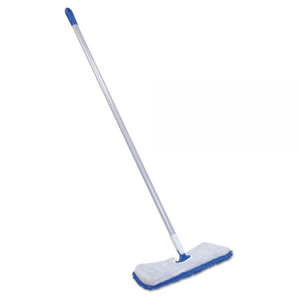 "Quickie Flip & Shine Microfiber Floor Mop, 19 1/2"" Head, 48"" Handle, Blue/Gray"