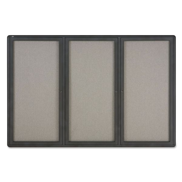Quartet Enclosed Fabric-Cork Board, 72 x 48, Gray Surface, Graphite Aluminum Frame