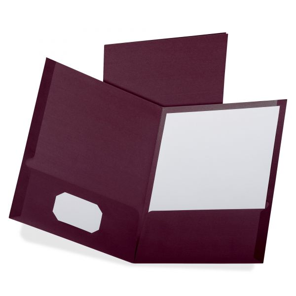 Oxford Linen Finish Twin Pocket Folders, Letter, Burgundy,25/Box