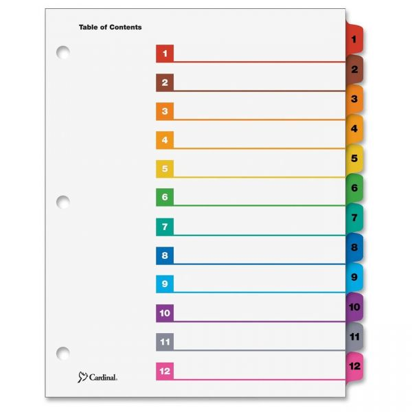 Cardinal OneStep Printable 12-Tab Numbered Dividers With Table Of Contents Page