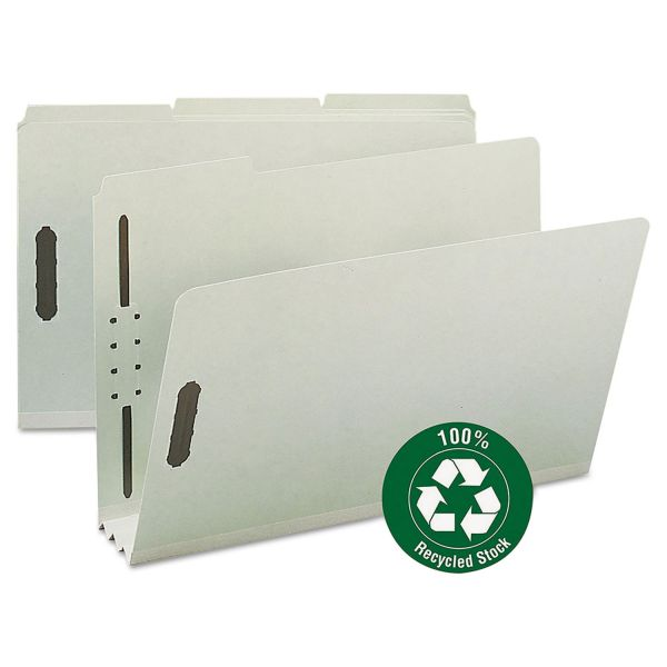 Smead 100% Recycled Pressboard File Folders With Fasteners