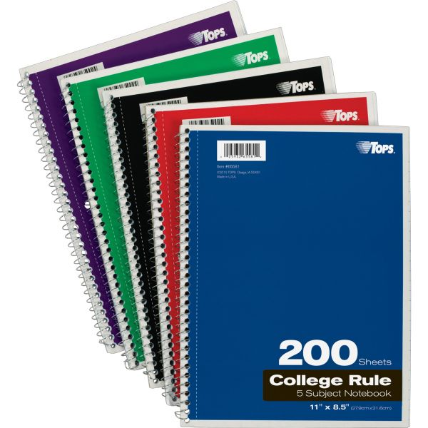 TOPS 5-Subject College-Ruled Spiral Notebook