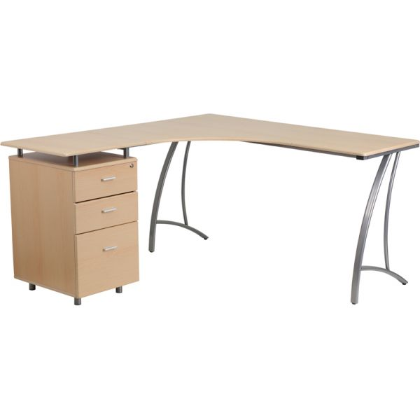 Flash Furniture Beech Laminate L-Shape Desk with Three Drawer Pedestal